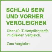 Banner mit Link zum Versicherungsvergleich von IT-Haftpflichtversicherungen