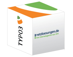 Grafik eines Würfels mit den Logos von netzloesungen.de und Typo3